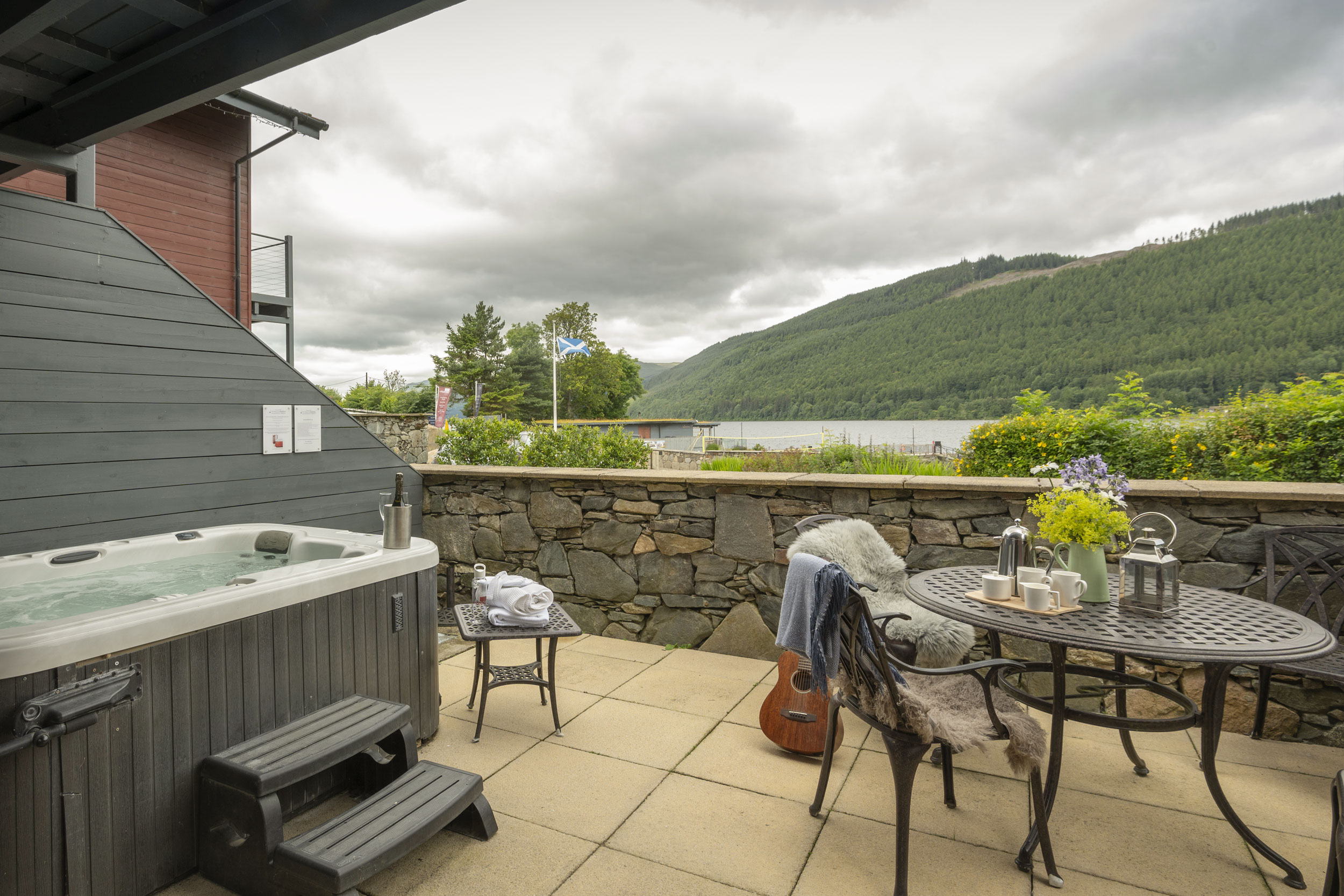 Terrace Seating With Views Across Loch Tay And Forest.