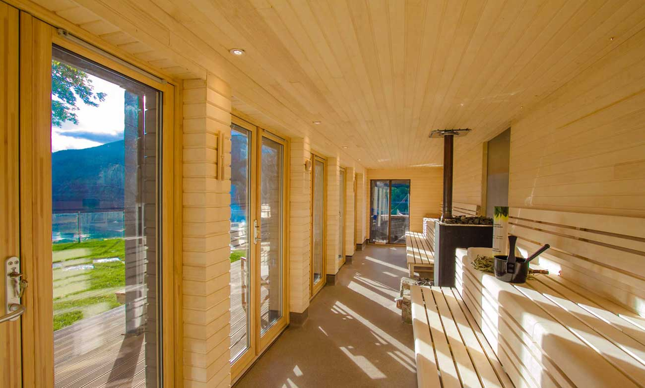 Long View Of The Hot Box Sauna With Window Overlooking Loch Tay