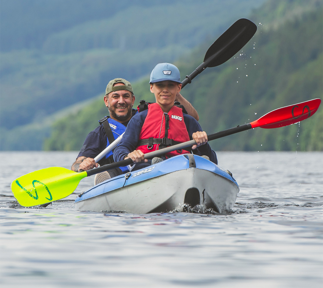 Woman and man in double kayak on Loch Tay